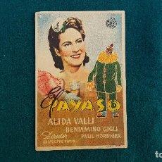 Folhetos de mão de filmes antigos de cinema: PROGRAMA DE MANO CINE EL PAYASO (1950) CON CINE AL DORSO. Lote 222941278