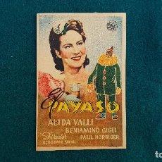 Folhetos de mão de filmes antigos de cinema: PROGRAMA DE MANO CINE EL PAYASO (1950) CON CINE AL DORSO. Lote 222941381