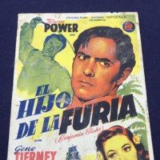Cine: EL HIJO DE LA FURIA - FOLLETO DE MANO SENCILLO - REF. FM-164. Lote 222942125