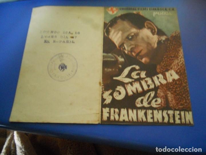 FOLLETO DE MANO CINE LA SOMBRA DE FRANKENSTEIN (Cine - Folletos de Mano - Aventura)