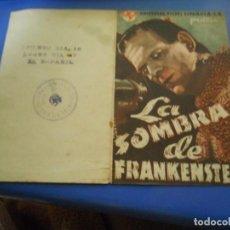 Cine: FOLLETO DE MANO CINE LA SOMBRA DE FRANKENSTEIN. Lote 222954293