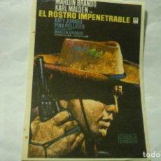 Flyers Publicitaires de films Anciens: PROGRAMA EL ROSTRO IMPENETRABLE -MARLON BRANDO. Lote 222985540