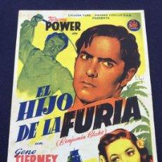 Cine: EL HIJO DE LA FURIA - FOLLETO DE MANO SENCILLO - REF. FM-160. Lote 222991408