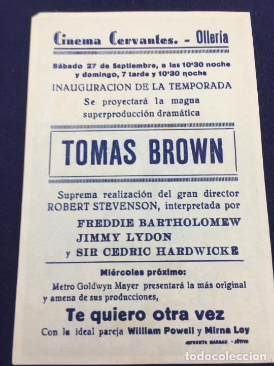 Cine: TOMAS BROWN - FOLLETO DE MANO SENCILLO - REF. FM-151 - Foto 2 - 223015758
