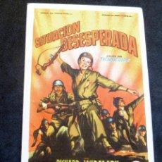 Flyers Publicitaires de films Anciens: PROGRAMA DE CINE - SITUACIÓN DESESPERADA - CINE CARMEN DE PALAMÓS. Lote 223030257
