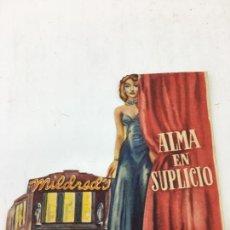 Cine: ALMA EN SUPLICIO - FOLLETO DE MANO TROQUELADO CON PUBLICIDAD - REF. FM-202. Lote 223033405