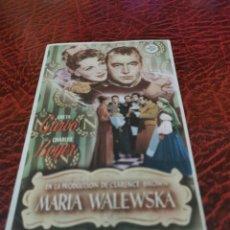 Foglietti di film di film antichi di cinema: PROGRAMA DE MANO ORIG - MARIA WALEWSKA - CON CINE DE VILLARROBLEDO IMPRESO AL DORSO. Lote 223150915
