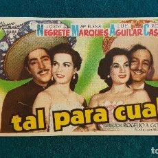 Flyers Publicitaires de films Anciens: PROGRAMA DE MANO CINE TAL PARA CUAL (1948) CON CINE AL DORSO. Lote 223241501