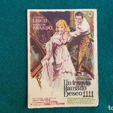 Foglietti di film di film antichi di cinema: PROGRAMA DE MANO CINE UN TRANVIA LLAMADO DESEO (1956) CON CINE AL DORSO. Lote 223243390
