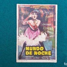 Flyers Publicitaires de films Anciens: PROGRAMA DE MANO CINE MUNDO DE NOCHE (1963) CON CINE AL DORSO. Lote 223357348