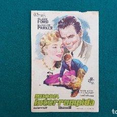 Flyers Publicitaires de films Anciens: PROGRAMA DE MANO CINE MELODIA INTERRUMPIDA (1958) CON CINE AL DORSO. Lote 223357505