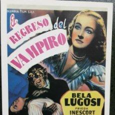 Foglietti di film di film antichi di cinema: EL REGRESO DEL VAMPIRO, BELA LUGOSI, SENCILLO IMPRESO EN LOS AÑOS 80. Lote 223530782