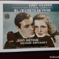 Folhetos de mão de filmes antigos de cinema: EL SECRETO DEVIVIR, GARY COOPER, JEAN ARTHUR, PROGRAMA IMPRESO EN LOS AÑOS 80. Lote 223610943