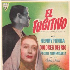 Folhetos de mão de filmes antigos de cinema: PN - PROGRAMA DE CINE - EL FUGITIVO - HENRY FONDA, DOLORES DEL RÍO - CINE ECHEGARAY (MÁLAGA) - 1947.. Lote 223611945