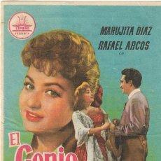 Folhetos de mão de filmes antigos de cinema: PN - PROGRAMA DE CINE - EL GENIO ALEGRE - MARUJITA DÍAZ, RAFAEL ARCOS - COLISEUM (TARRAGONA) - 1957.. Lote 223667671