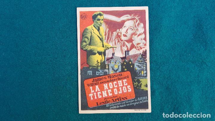 PROGRAMA DE MANO CINE LA NOCHE TIENE OJOS (1948) CON CINE AL DORSO (Cine - Folletos de Mano - Terror)