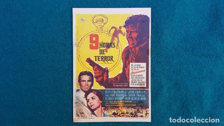 PROGRAMA DE MANO CINE 9 HORAS DE TERROR (1963) CON CINE AL DORSO (Cine - Folletos de Mano - Terror)