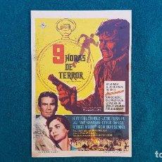 Folhetos de mão de filmes antigos de cinema: PROGRAMA DE MANO CINE 9 HORAS DE TERROR (1963) CON CINE AL DORSO. Lote 223762661