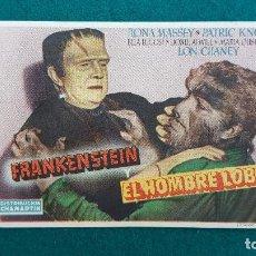 Folhetos de mão de filmes antigos de cinema: PROGRAMA DE MANO CINE FRANKENSTEIN Y EL HOMBRE LOBO (1949) CON CINE AL DORSO. Lote 223814570