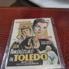Folhetos de mão de filmes antigos de cinema: PROGRAMA DE MANO ORIG - UN AMERICANO EN TOLEDO -SIN CINE IMPRESO AL DORSO. Lote 223955498
