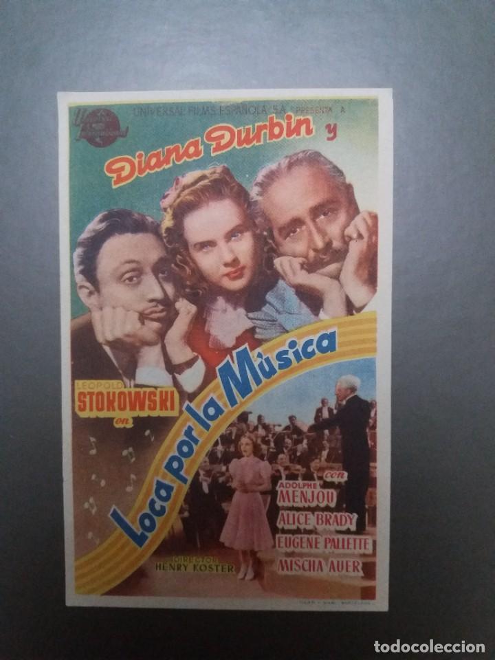 LOCA POR LA MÚSICA CON PUBLICIDAD CINE MÁLAGA CINEMA (Cine - Folletos de Mano - Musicales)