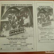 Folhetos de mão de filmes antigos de cinema: EL IMPERIO CONTRAATACA STAR WARS LA GUERRA DE LAS GALAXIAS 2 CLICHES DE PRENSA ORIGINALES ESTRENO. Lote 224035141