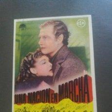 Cine: UNA NACIÓN EN MARCHA CON PUBLICIDAD CINE DUQUE MÁLAGA. Lote 224087680