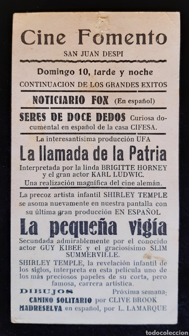 Cine: Programa de la película LA PEQUEÑA VIGIA con SHIRLEY TEMPLE. Años 30. - Foto 2 - 224089118