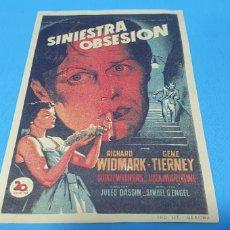 Foglietti di film di film antichi di cinema: PROGRAMA DE MANO DE CINE - PELÍCULA SINIESTRA OBSESIÓN - RICHARD WIDMARK/GENE TIERNEY. Lote 224151920