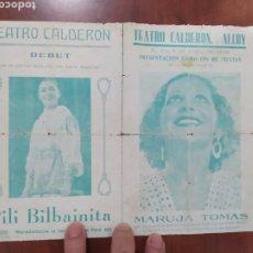 Cine: ALCOY TEATRO CALDERÓN 1936 MARUJA TOMAS,SUPER VEDETTE Y ESTRELLA DEL CINE ,ALCOYANA.. Lote 224410575