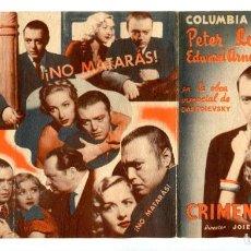 Cine: CRIMEN Y CASTIGO, CON PETER LORRE.. Lote 224511407