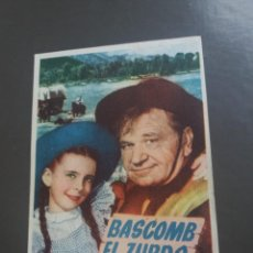 Cine: BASCOMB EL ZURDO CON PUBLICIDAD CINE OLYMPIA GRÁFICAS CANTABRIA. Lote 224592992