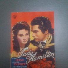 Cine: LADY HAMILTON DOBLE CON PUBLICIDAD CINEMA GRAN VIA VALENCIA. Lote 224636696