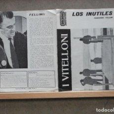 Cine: LOS INUTILES I VITELLONI PROGRAMA DOBLE CINE ARCADIA FEDERICO FELLINI ALBERTO SORDI. Lote 224871328