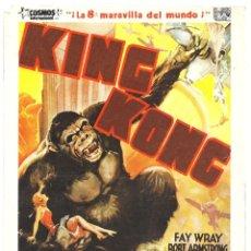 Cine: KING KONG FAY WRAY ROBERT ARMSTRONG PROGRAMA GRANDE CON PUBLICIDAD. Lote 224978603