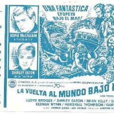 Folhetos de mão de filmes antigos de cinema: LA VUELTA AL MUNDO BAJO EL MAR PROGRAMA SENCILLO CINEDIA DAVID MCCALLUM LLOYD BRIDGES SHIRLEY EATON. Lote 225015636