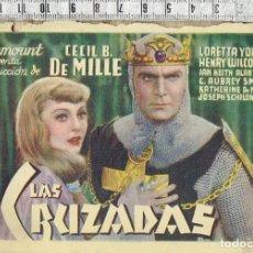 Cine: FOLLETO DE MANO PARAMOUNT FILMS LA PRODUCCION DE CECIL B. DE MILLE LAS CRUZADAS CON PUBLICIDAD.. Lote 225080105