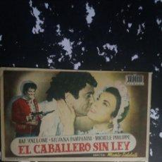 Cine: EL CABALLERO SIN LEY CON PUBLICIDAD CINE BENAVENTE RUTE. Lote 225155825