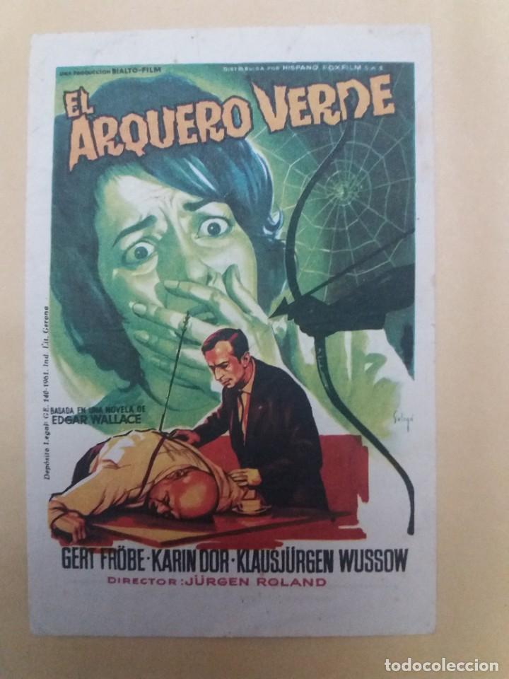 EL ARQUERO VERDE CON PUBLICIDAD CINE ALAMEDA MÁLAGA (Cine - Folletos de Mano - Aventura)