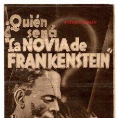 Cine: LA NOVIA DE FRANKESTEIN 1935 .- CINE SALA-REUS / ESCRITO EN CATALAN / 15X21.5 /30X21.5. Lote 225272585