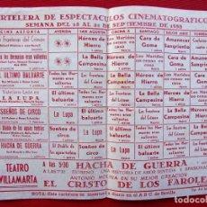 Cine: CARTELERA DE ESPECTÁCULOS CINEMATOGRÁFICOS. AÑO 1958. TEATRO VILLAMARTA. JEREZ. BUEN ESTADO. ÚNICO.. Lote 225299407