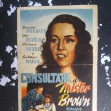 Cine: CONSULTARLE A MISTER BROWN CON PUBLICIDAD GRAN CINEMA LICEO RUTE. Lote 225300290