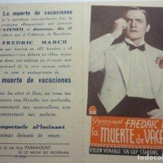Flyers Publicitaires de films Anciens: PROGRAMA DOBLE LA MUERTE DE VACACIONES. Lote 225313202