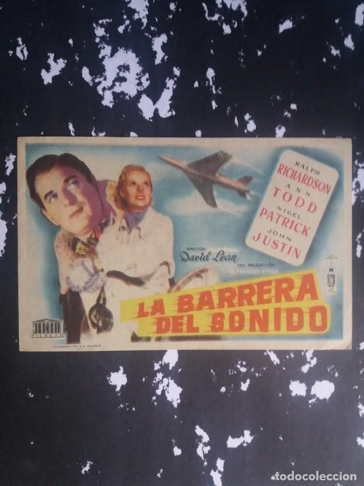 LA BARRERA DEL SONIDO CON PUBLICIDAD GRAN CINEMA LICEO RUTE (Cine - Folletos de Mano - Aventura)