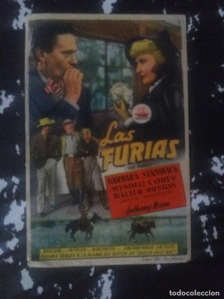 LAS FURIAS CON PUBLICIDAD TERRAZA CINE LICEO RUTE (Cine - Folletos de Mano - Westerns)