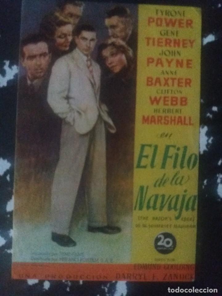 EL FILO DE LA NAVAJA CON PUBLICIDAD IDEAL CINEMA RUTE (Cine - Folletos de Mano - Drama)