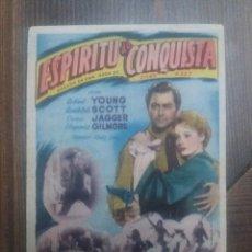 Cine: ESPIRITU DE CONQUISTA CON PUBLICIDAD IDEAL CINEMA CABRA. Lote 225578870