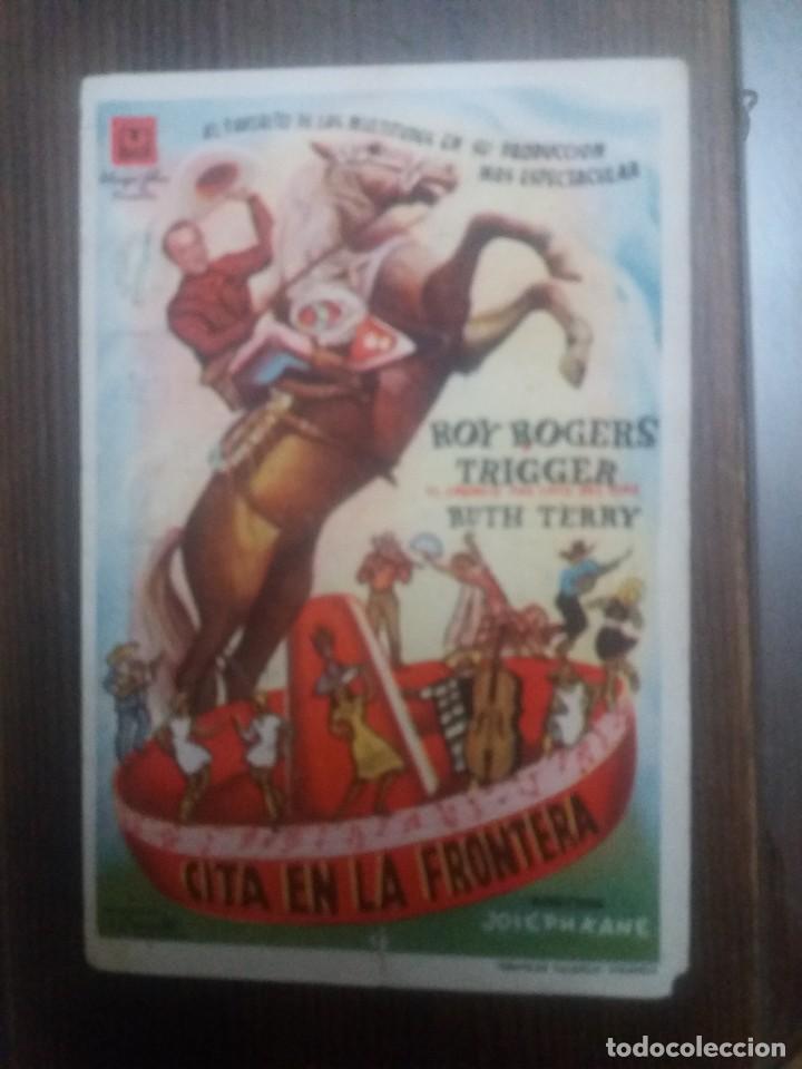 CITA EN LA FRONTERA CON PUBLICIDAD CINEMA PALACIO MONTILLA (Cine - Folletos de Mano - Aventura)