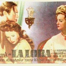 Folhetos de mão de filmes antigos de cinema: PROGRAMA DE MANO. LA LOBA -HOR. BETTE DAVIS HERBERT MARSHALL. CP (WILLIAM WYLER) RKO RADIO FILMS. Lote 225708085