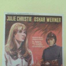 Folhetos de mão de filmes antigos de cinema: FAHRENHEIT 451 JULIE CHRISTIE OSKAR WERNER FOLLETO ORIGINAL BUEN ESTADO. Lote 225807957